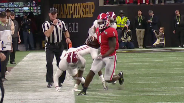 Sony Michel walked a tight rope for a big third down conversion that would lead to a field goal.