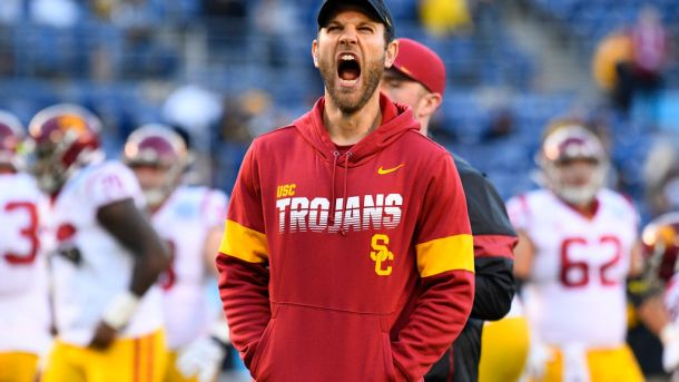 USC offensive coordinator Graham Harrell is expected to remain with the Trojans after interviewing with the NFL's Philadelphia Eagles.