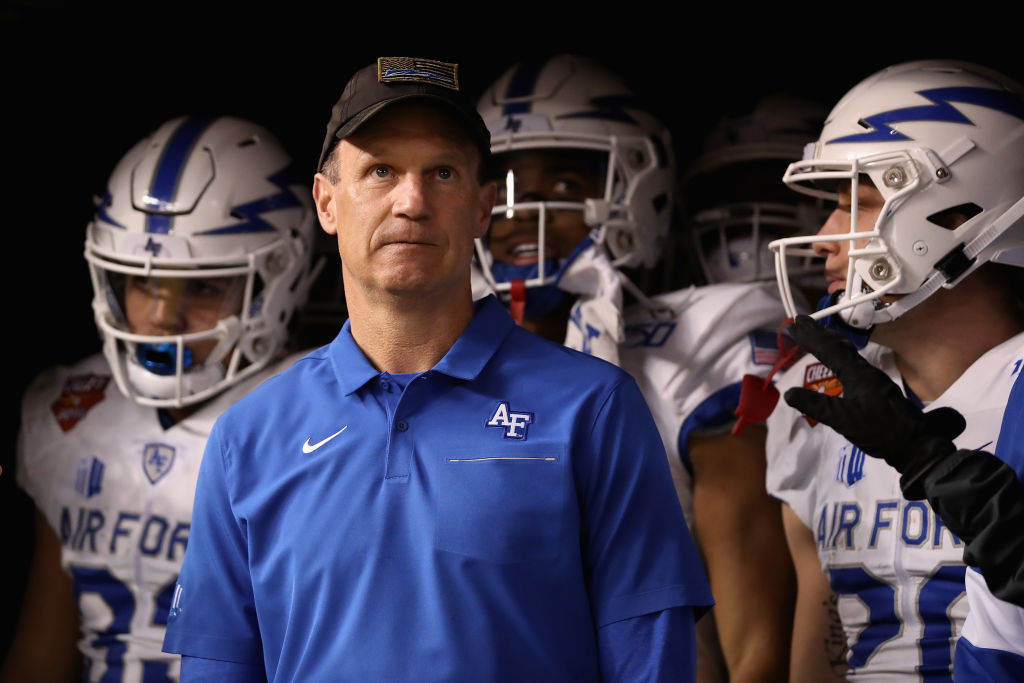 Air Force coach Troy Calhoun deflects when asked about Colorado